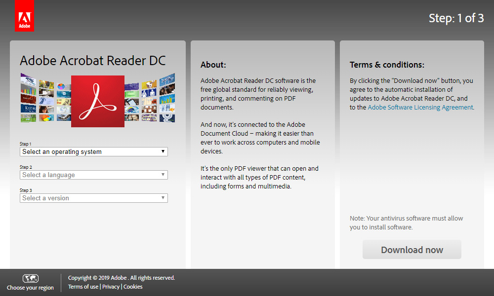 Adobe Acrobat Reader DC: Download step 1
