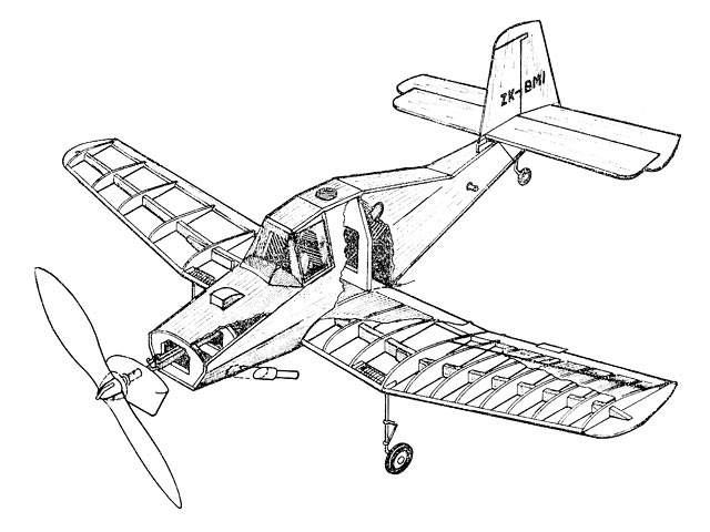 Auster Agricola (oz11666) by Ron Warring from Model Aircraft 1957