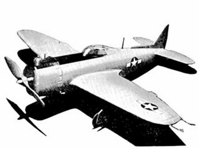 P-47 Thunderbolt (oz3877) by PMH Lewis from Model Aircraft 1950