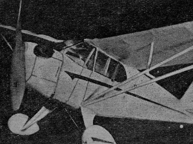 Piper Cub Coupe (oz394) by Claude McCullough from Flying Aces 1939