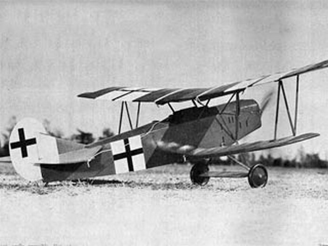 Fokker DVII (oz8264) by Paul Del Gatto from Flying Models 1964
