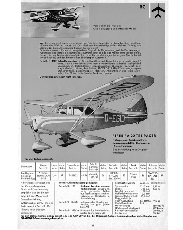 Outerzone : Piper PA-22 Tri-Pacer plan : download free vintage model