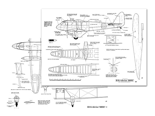 DH 89a Dominie (oz10751) by AB Swanston from Flying Models 1964