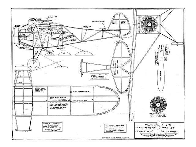 Monocoupe 110 (oz11154) from GHQ Model Airplane 1934