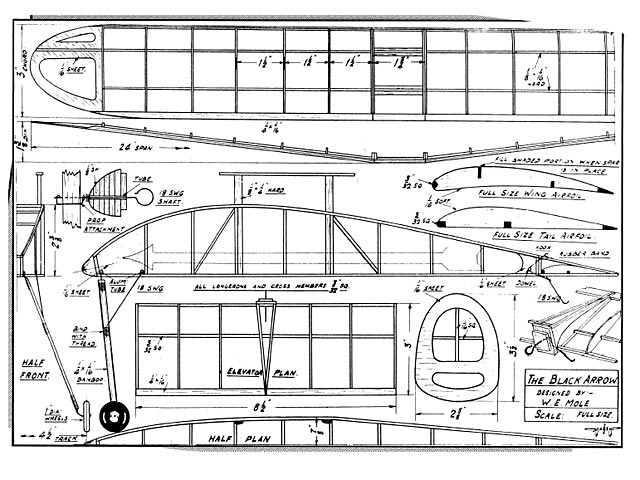 Black Arrow (oz1116) by WE Mole from Aeromodeller 1938