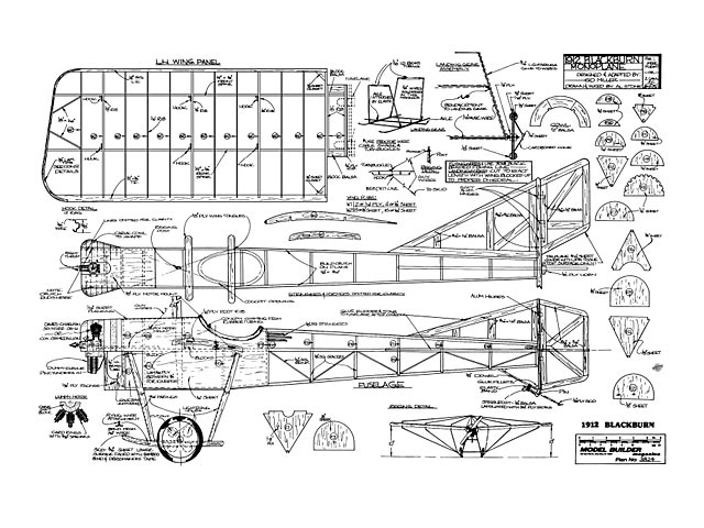 1912 Blackburn Monoplane (oz12266) by Sid Miller from Model Builder 1982