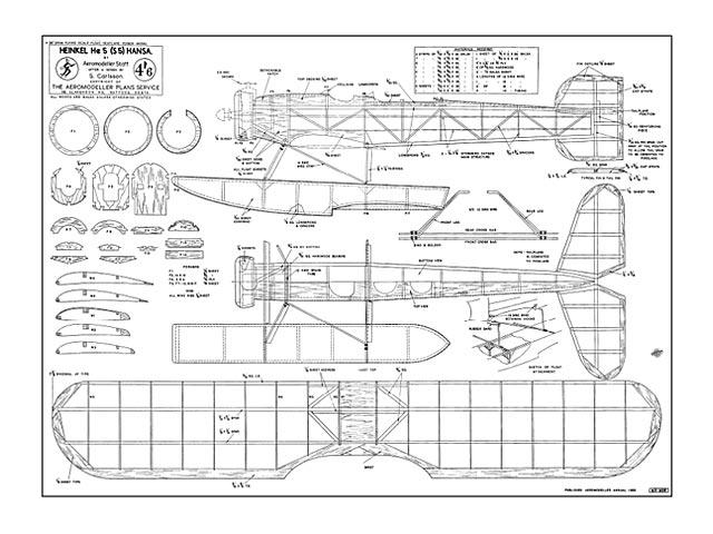 Heinkel HE5 Hansa (oz13089) by Aeromodeller Staff from Aeromodeller Annual 1955
