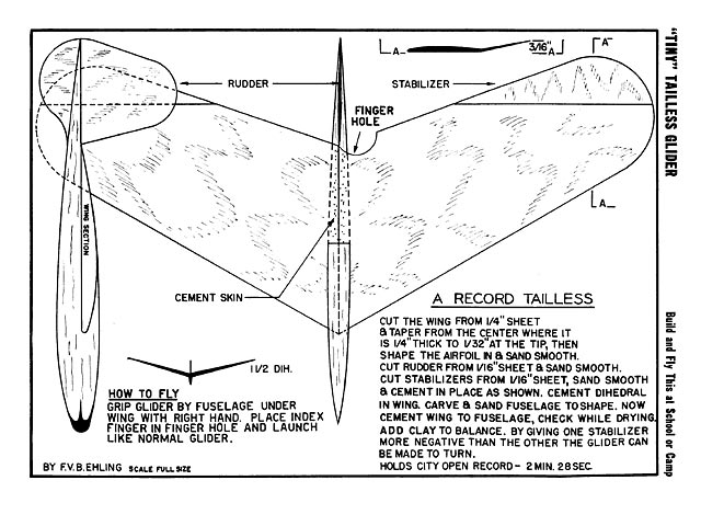 Tiny Tailless Glider Plan Free Download Outerzone