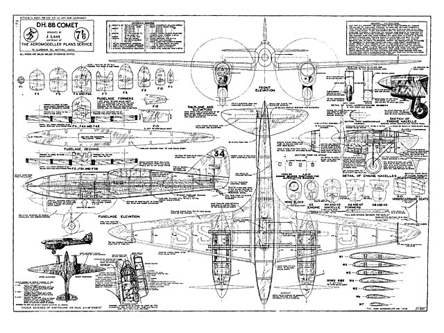 DH.88 Comet plan - Free download - Outerzone