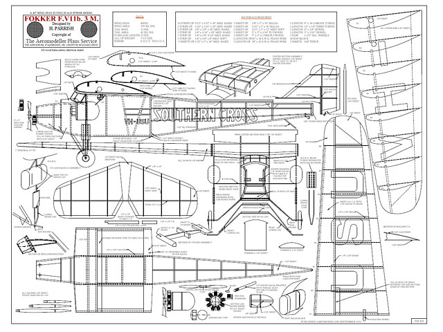 Fokker F.VIIb 3M Southern Cross - plan thumbnail image