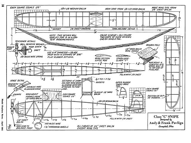 Class C Snipe (oz3154) by Andy and Frank Pavliga from Model Airplane News 1941