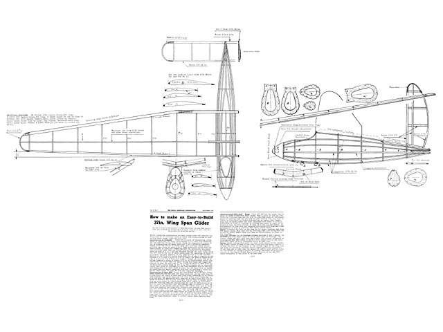 37in Wing Span Glider (oz3303) from Model Aeroplane Constructor 1937
