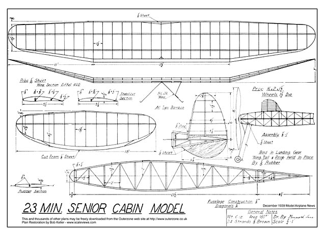 23 Minute Senior Cabin Model (oz3532) by Kenneth Lane from Model Airplane News 1939
