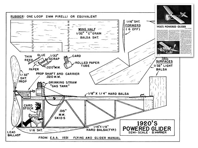 1920s Powered Glider (oz3691) by Bill Warner from Model Builder 1974