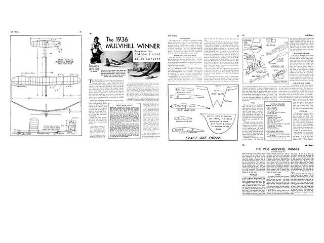 1936 Mulvihill Winner - Bruce Luckett - Air Trails - April 1937 - 32in