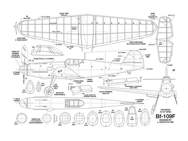 Bf-109F (oz3944) by L Koutny 1983