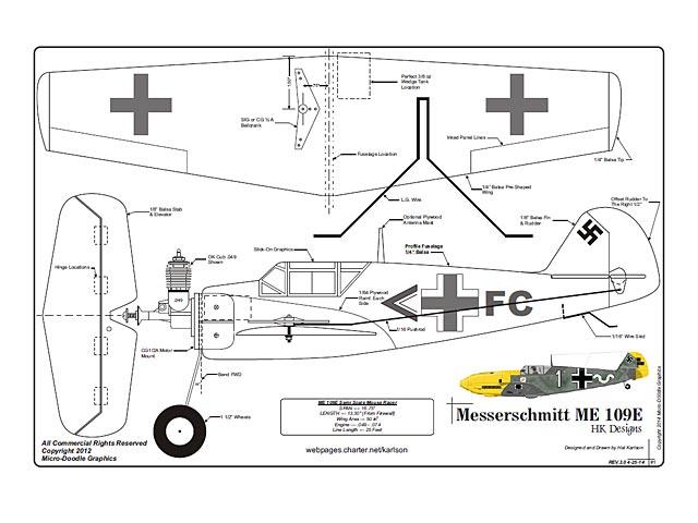 Messerschmitt ME 109E - plan thumbnail image