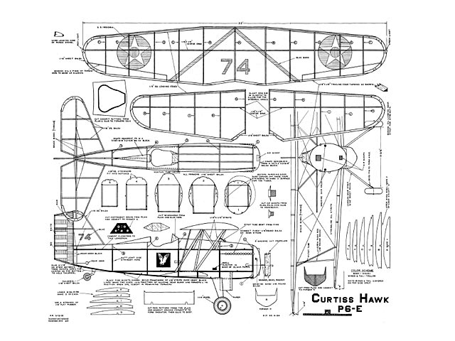 Curtiss Hawk P6-E  (oz4703) from American Modelcraft 1933