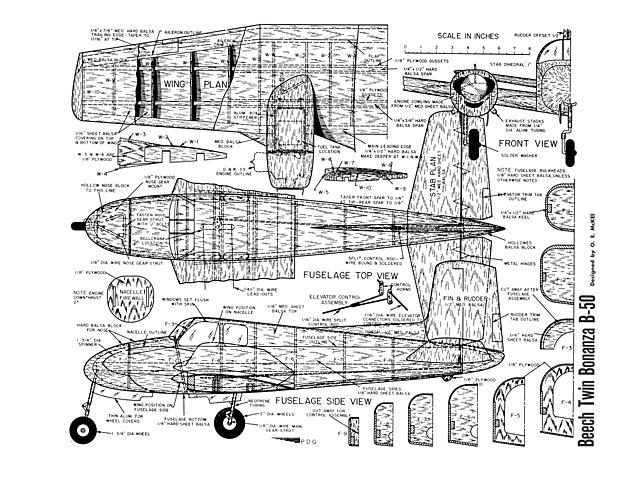 Beech Twin Bonanza B-50 (oz4763) by OE Mckee
