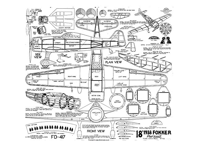 1938 Fokker Pursuit - plan thumbnail image
