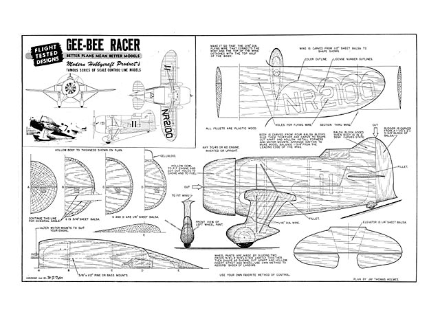 Gee Bee Racer (oz6174) by Jay T Holmes from Modern Hobbycraft 1947