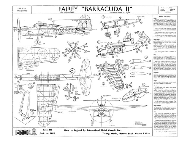 Fairey Barracuda II (oz6748) by Unknown from Frog 1946