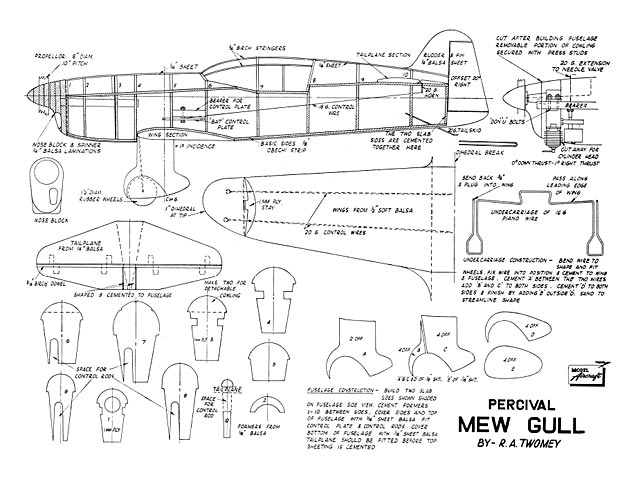 Percival Mew Gull (oz6933) by Dick Twomey from Model Aircraft 1949