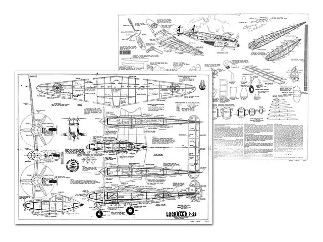 P 38 Fighter Schematic Drawings