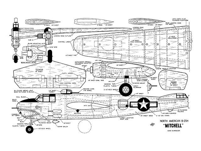 North American B-25H Mitchell (oz8115) by Vern Schroeder from Model Airplane News 1958