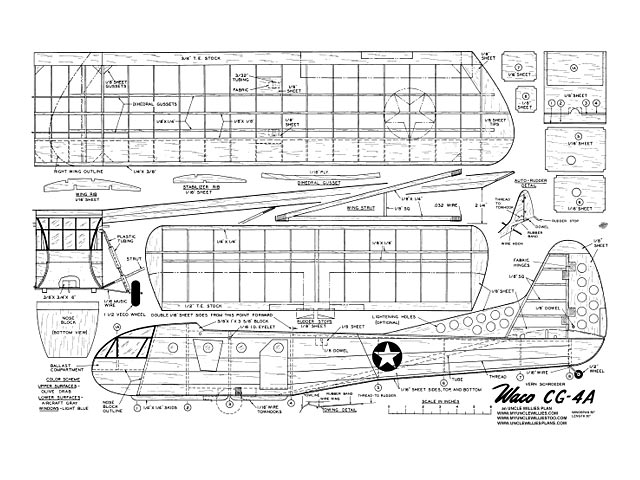 Waco CG-4A (oz9708) by Vern Schroeder from Model Airplane News 1959