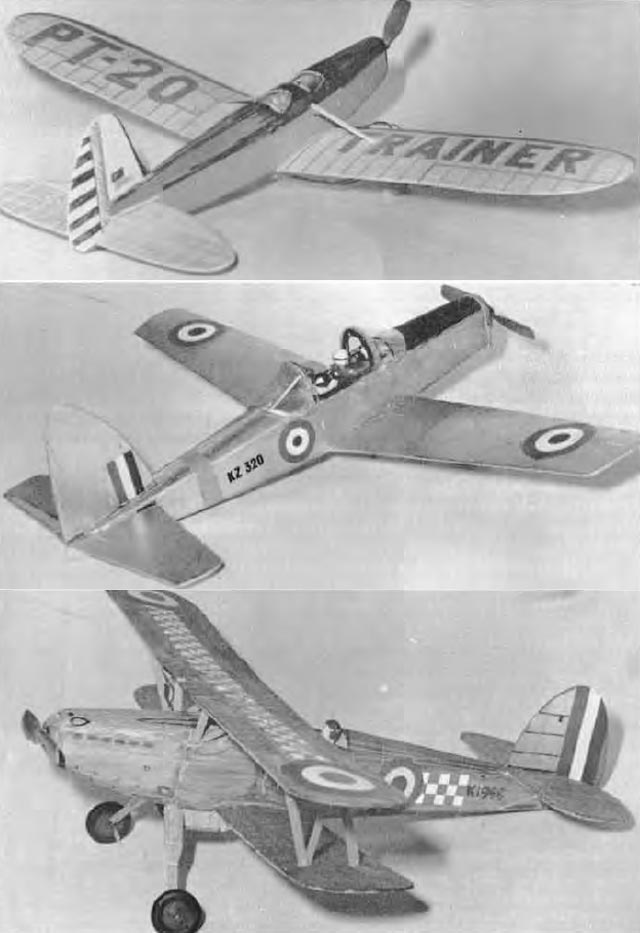 Three Frogflite kits which adapt easily to Electric power are the Ryan PT.20. D.H. Chipmunk and the Hawker Fury in photographs opposite. Each uses the 16D size motor and has been employed at the Model Engineer Exhibition displays.